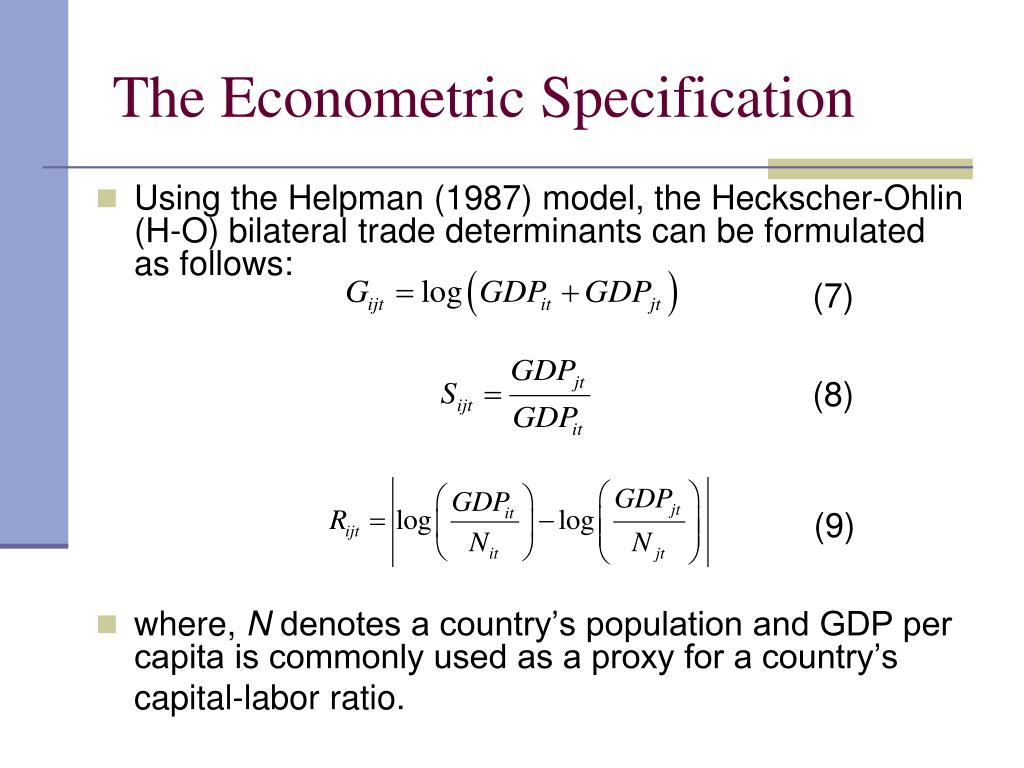 The Econometric Specification