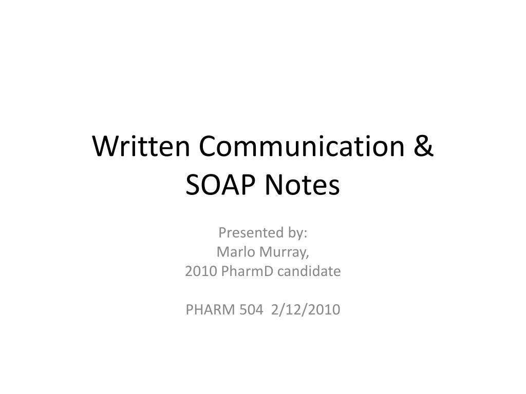 written communication soap notes