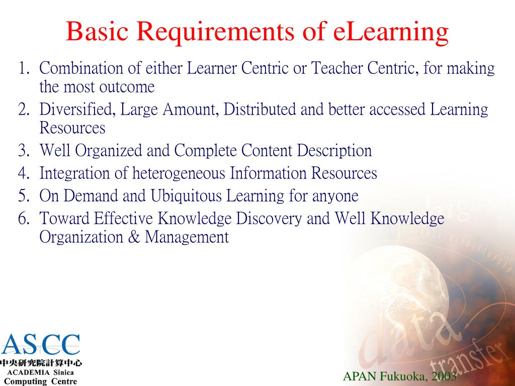 Basic Requirements of eLearning