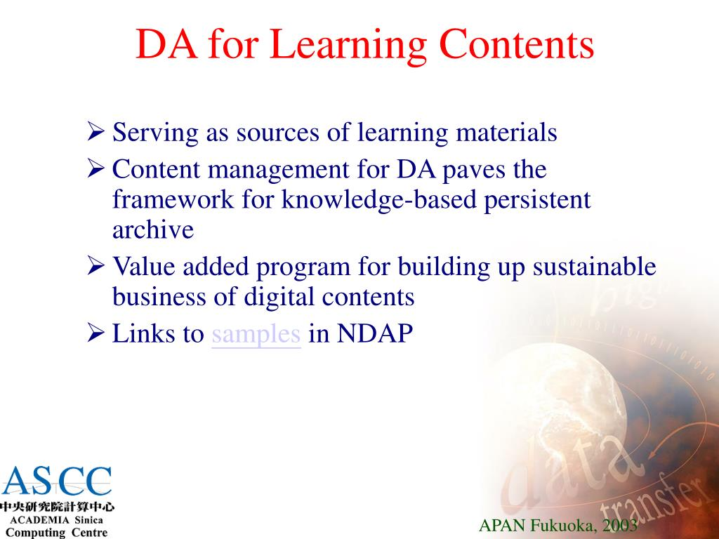 DA for Learning Contents