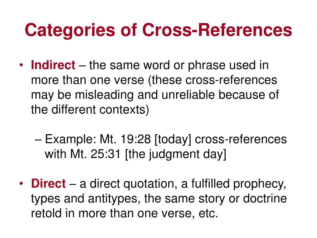 Categories of Cross-References