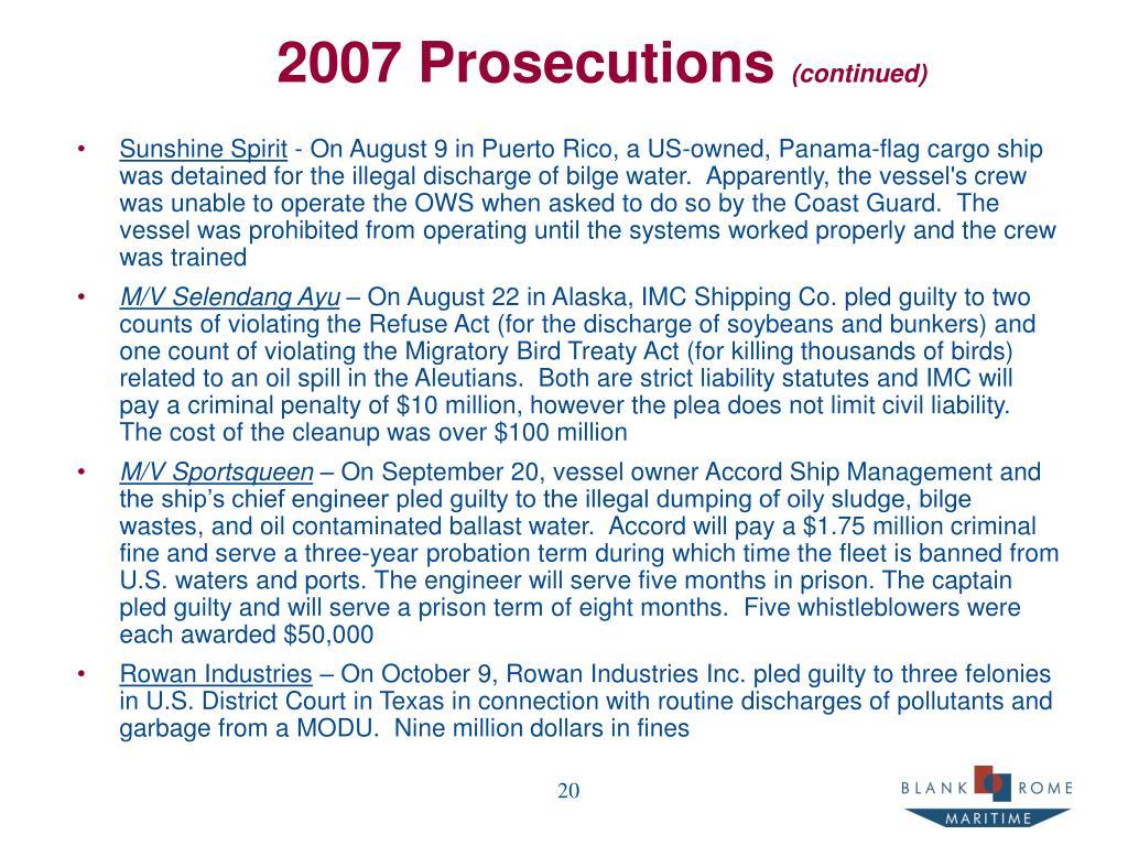 2007 Prosecutions