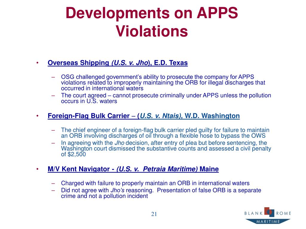Developments on APPS Violations
