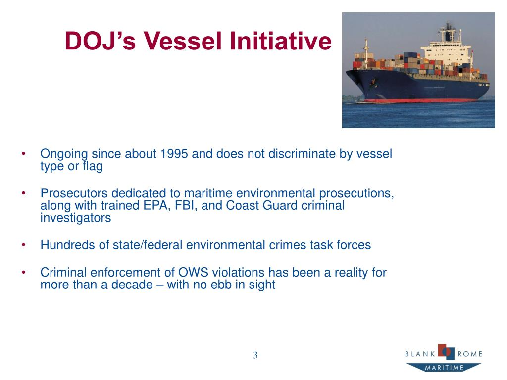DOJ's Vessel Initiative