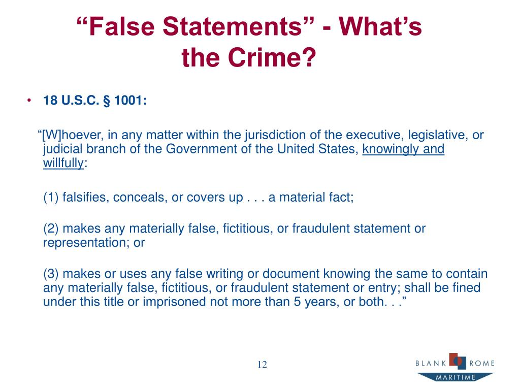 """False Statements"" - What's the Crime?"