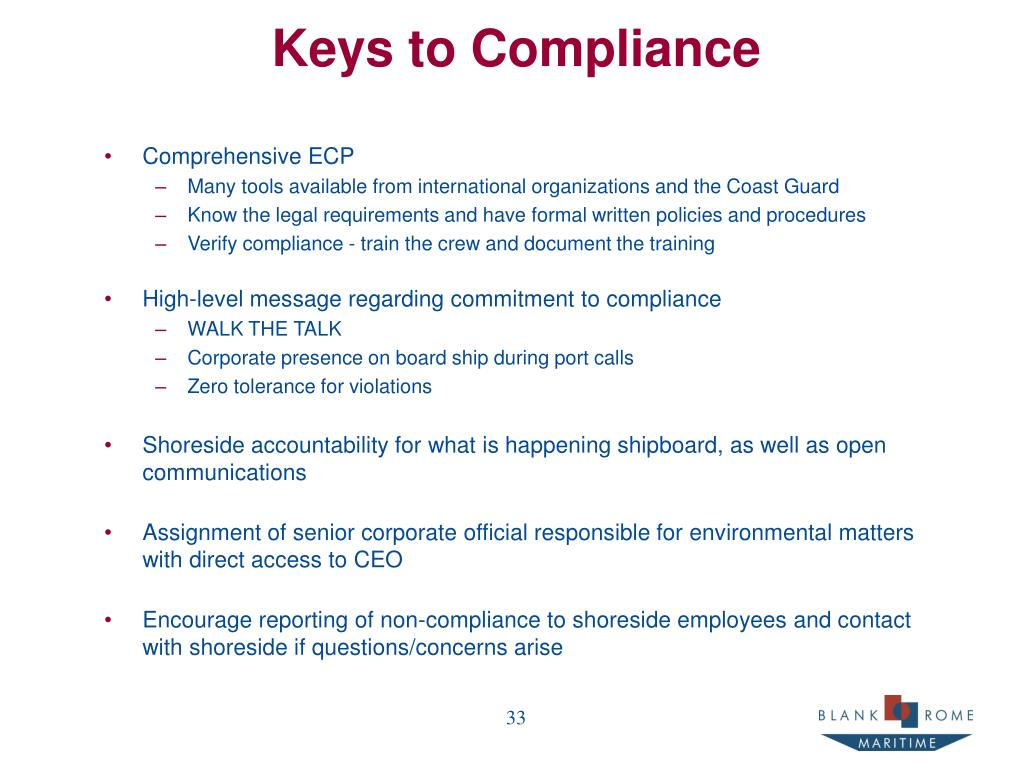 Keys to Compliance