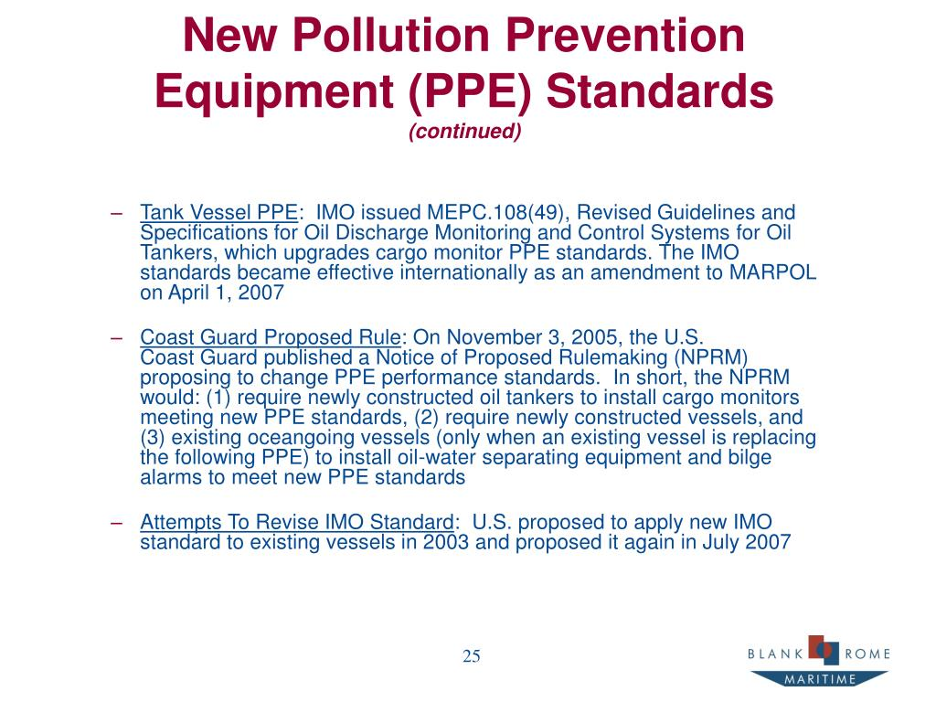 New Pollution Prevention Equipment (PPE) Standards