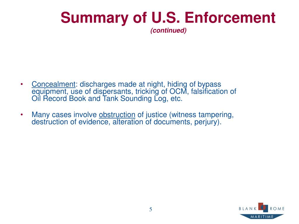 Summary of U.S. Enforcement