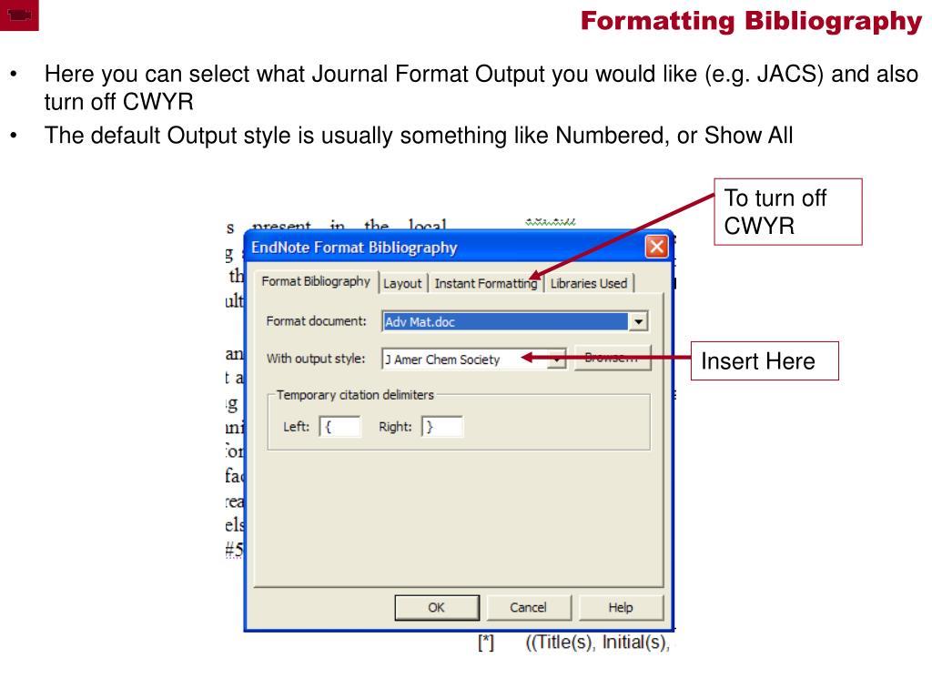 Formatting Bibliography
