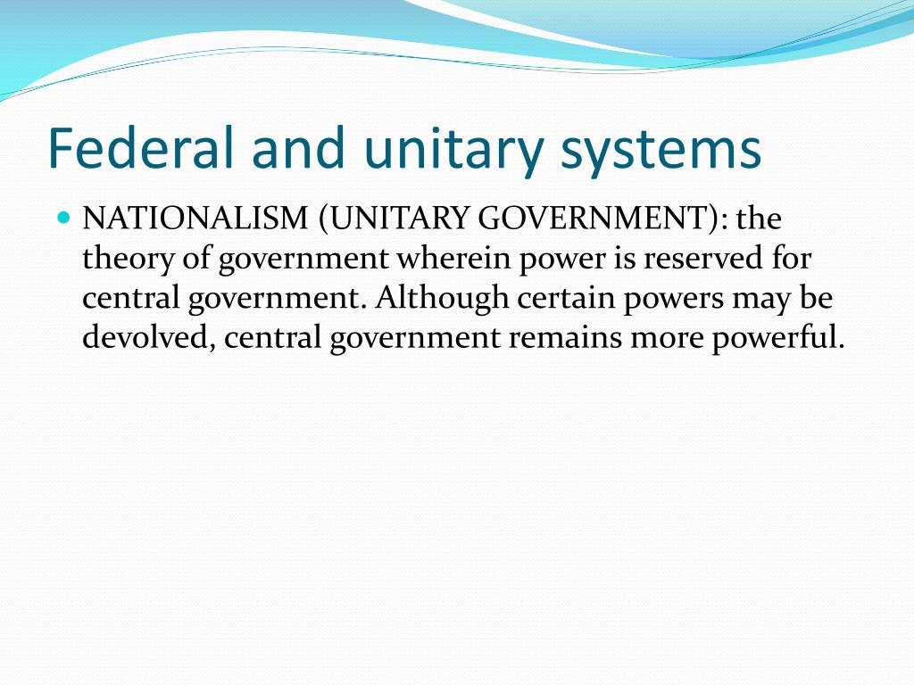 Federal and unitary systems