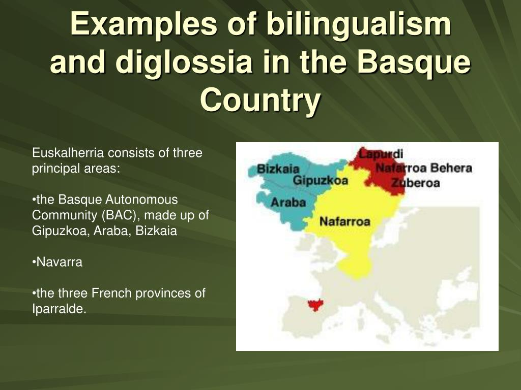 Examples of bilingualism and diglossia in the Basque Country