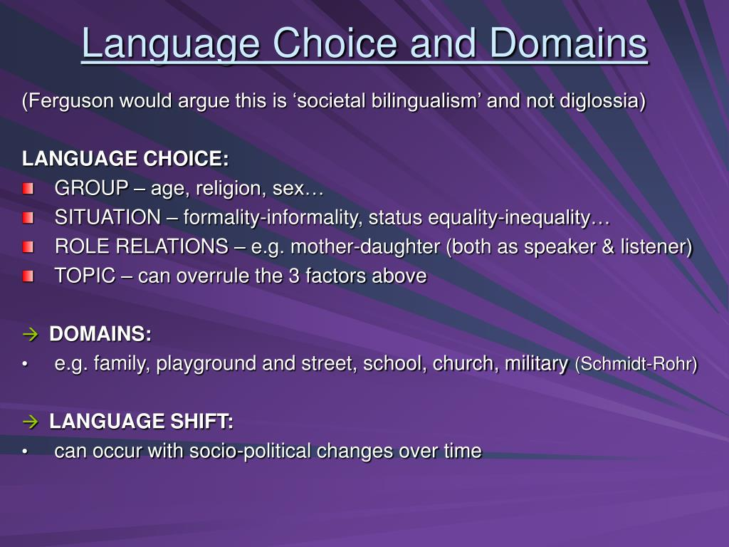Language Choice and Domains