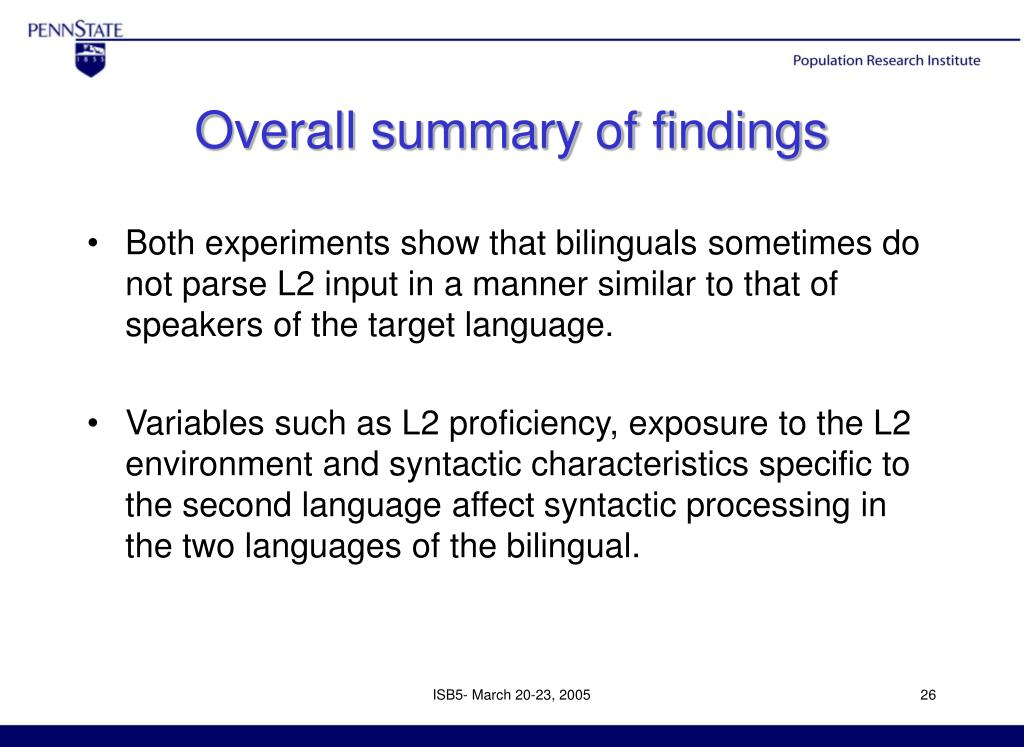 Overall summary of findings