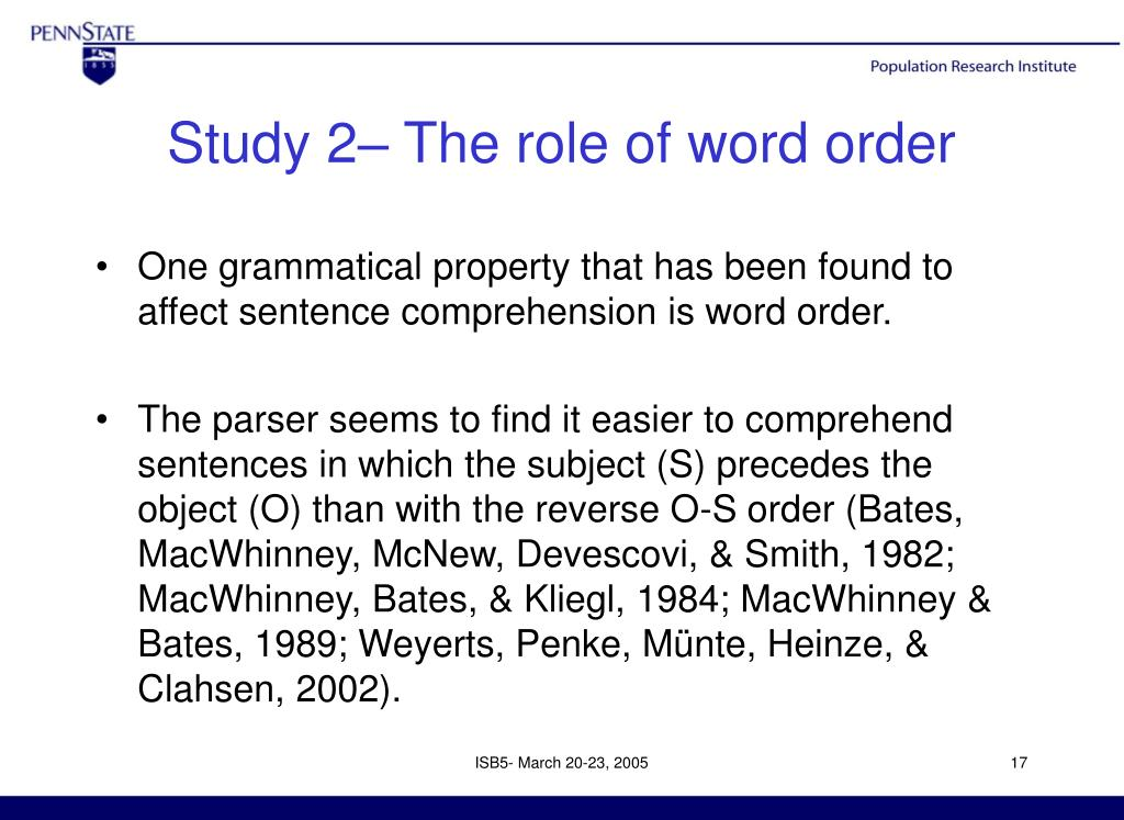Study 2– The role of word order
