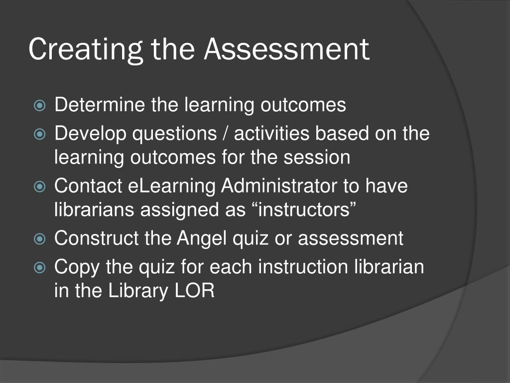 Creating the Assessment