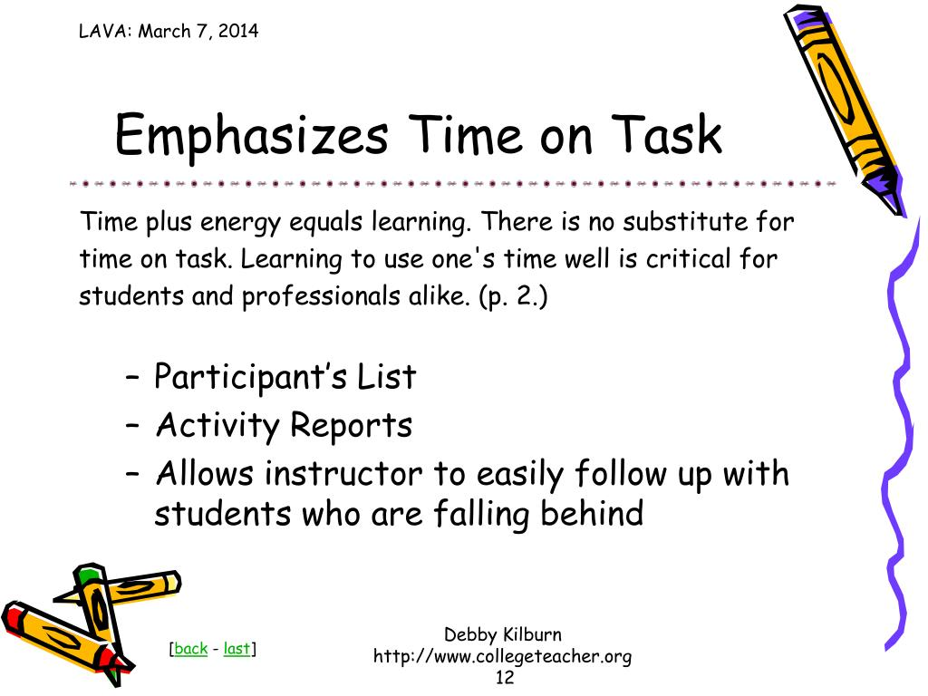 Emphasizes Time on Task