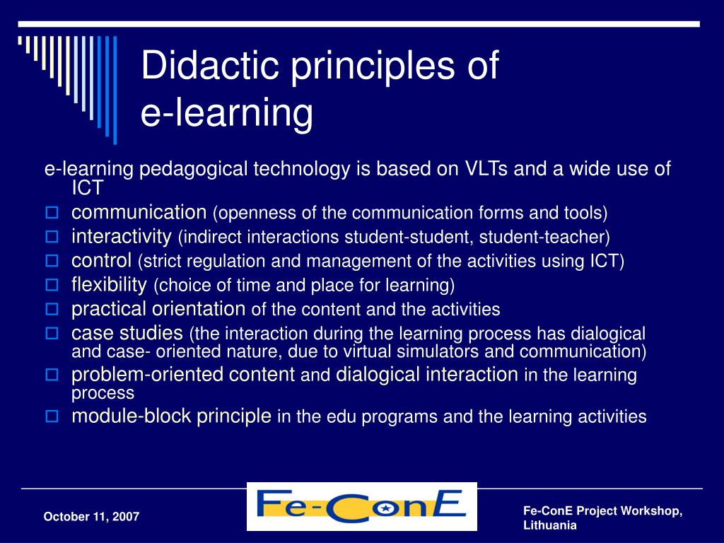Didactic principles of