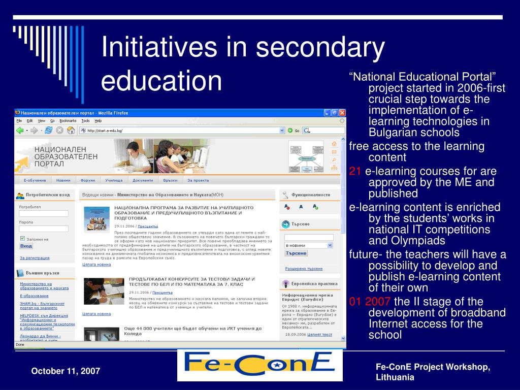 Initiatives in secondary education