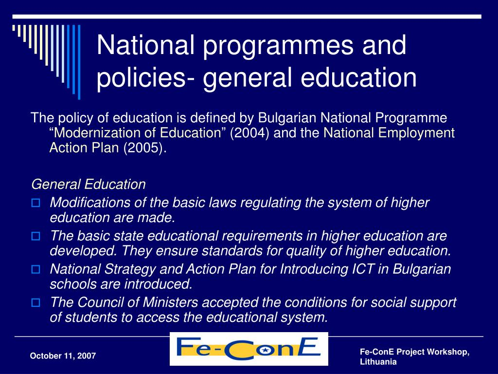 National programmes and policies- general education