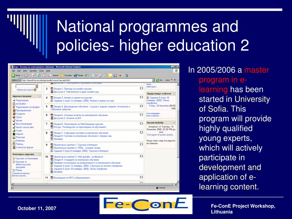 National programmes and policies- higher education 2
