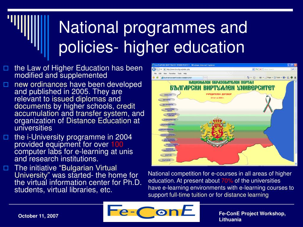 National programmes and policies- higher education