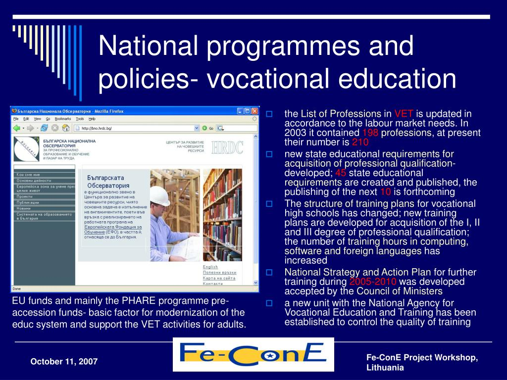 National programmes and policies- vocational education