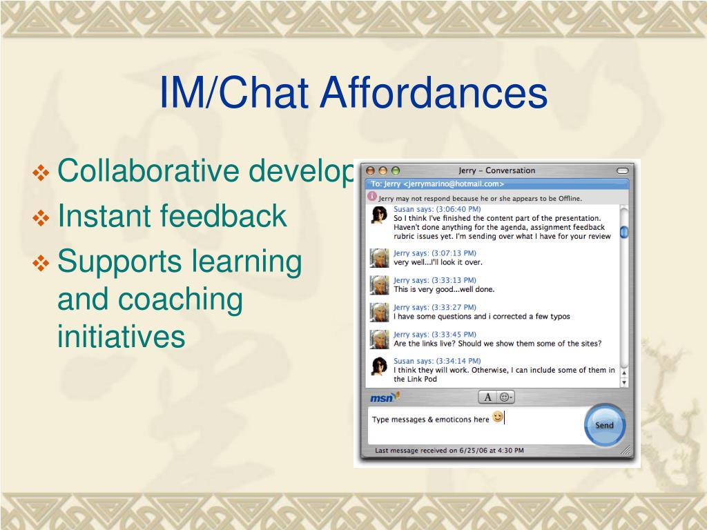 IM/Chat Affordances