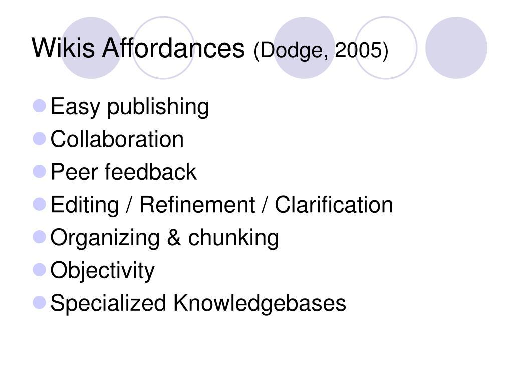 Wikis Affordances