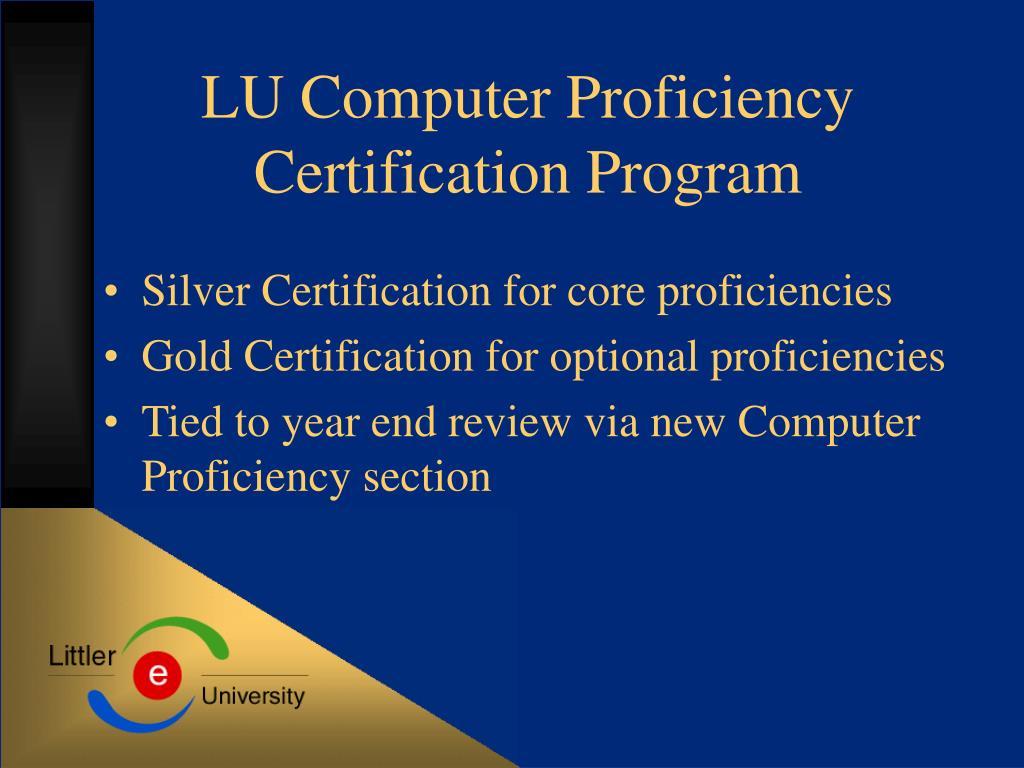 LU Computer Proficiency Certification Program