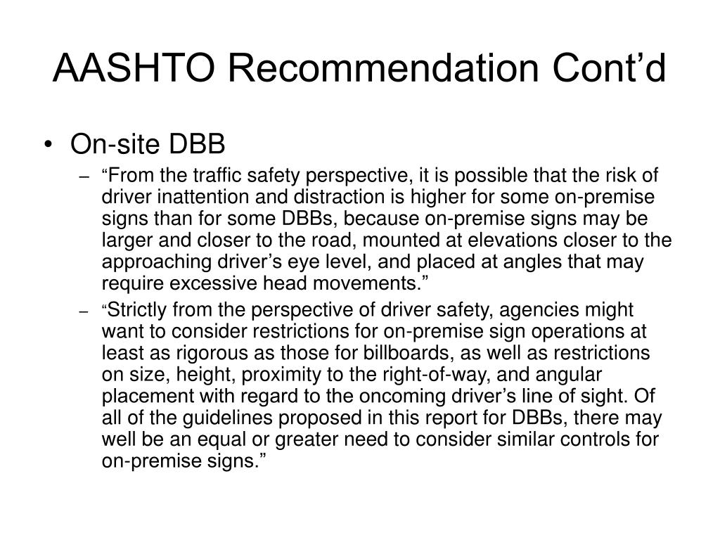AASHTO Recommendation Cont'd