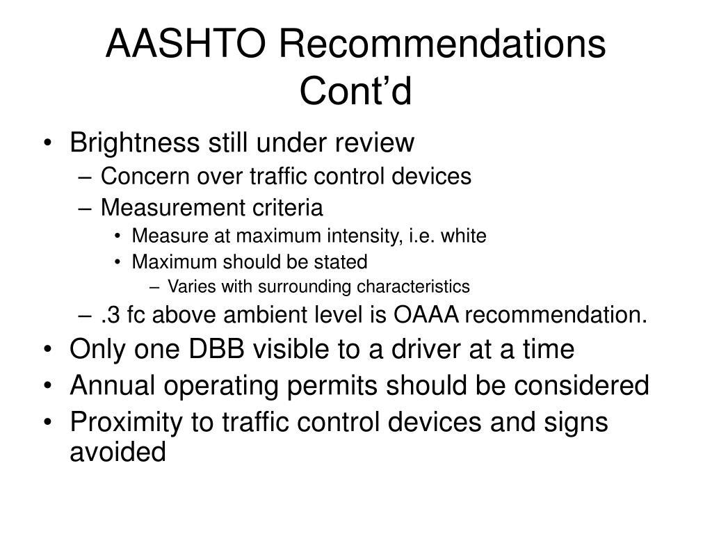 AASHTO Recommendations Cont'd
