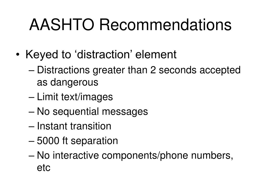 AASHTO Recommendations