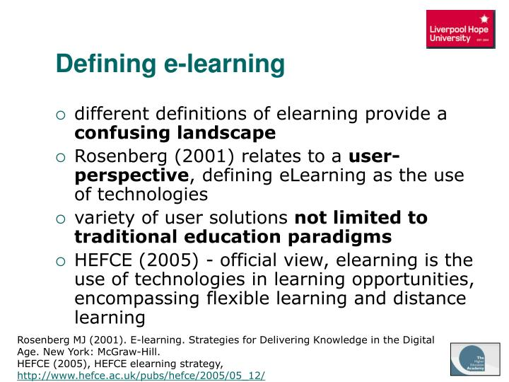 Defining e-learning