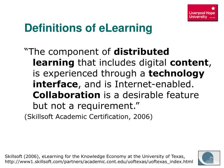 Definitions of eLearning