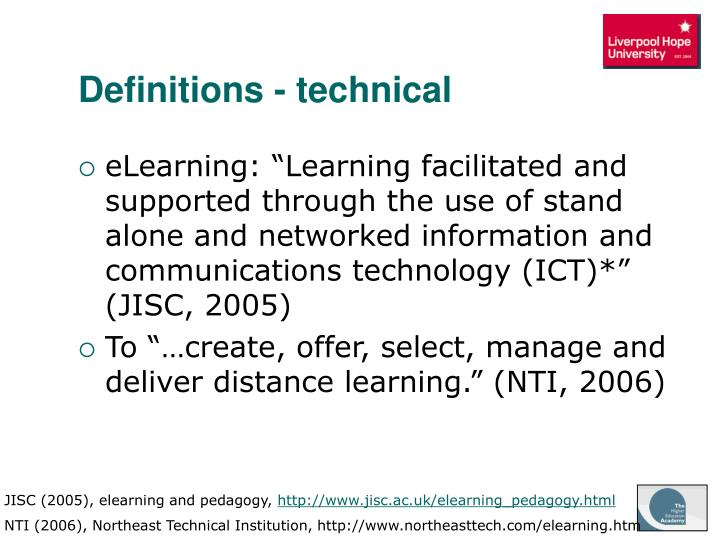 Definitions - technical