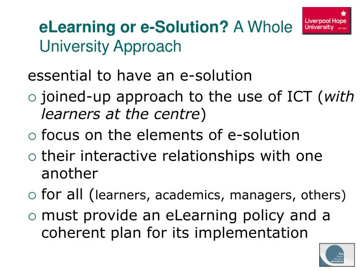 eLearning or e-Solution?