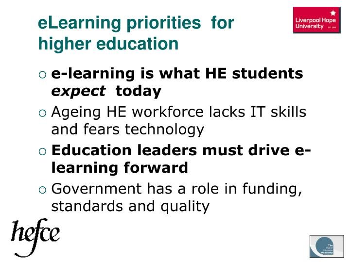 eLearning priorities  for higher education