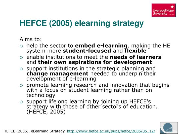 HEFCE (2005) elearning strategy