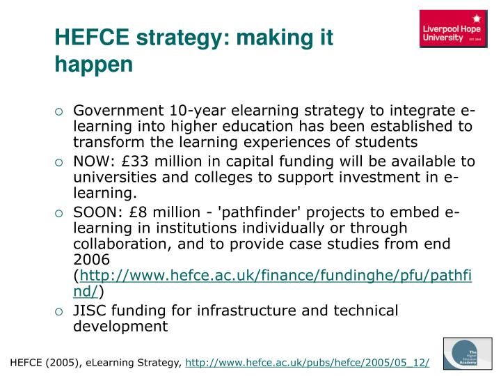 HEFCE strategy: making it happen