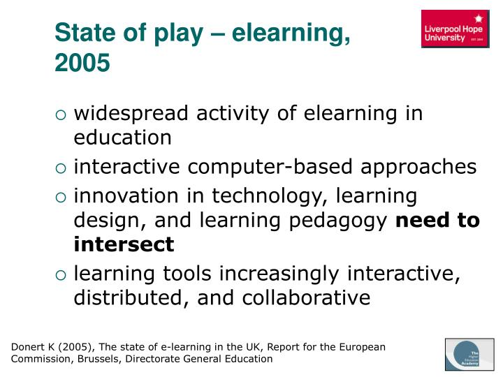 State of play – elearning, 2005
