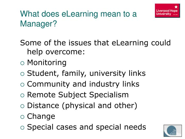 What does eLearning mean to a Manager?