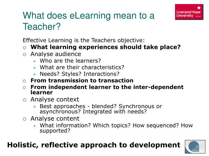 What does eLearning mean to a Teacher?