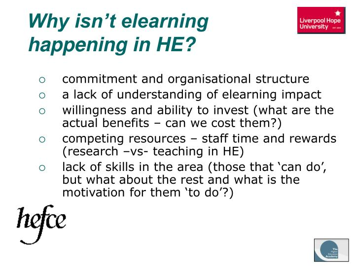 Why isn't elearning happening in HE?