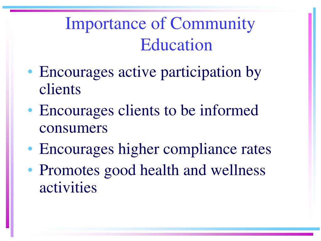 Importance of Community Education