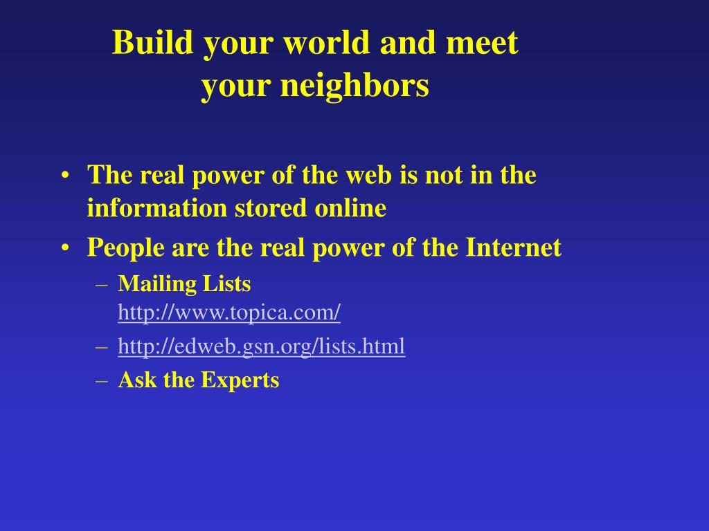 Build your world and meet your neighbors