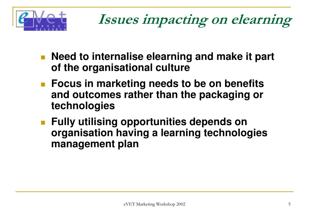 Issues impacting on elearning