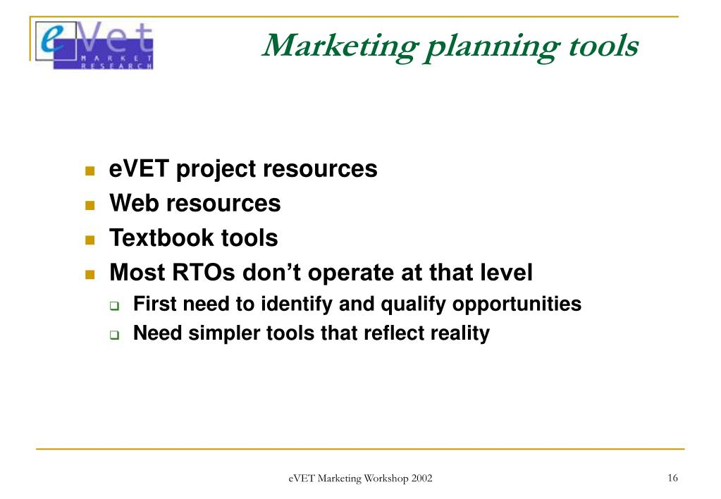 Marketing planning tools