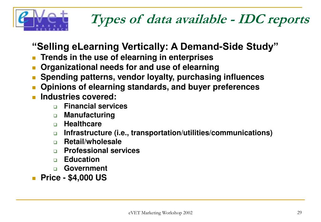 Types of data available - IDC reports