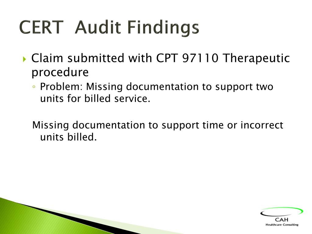 CERT  Audit Findings