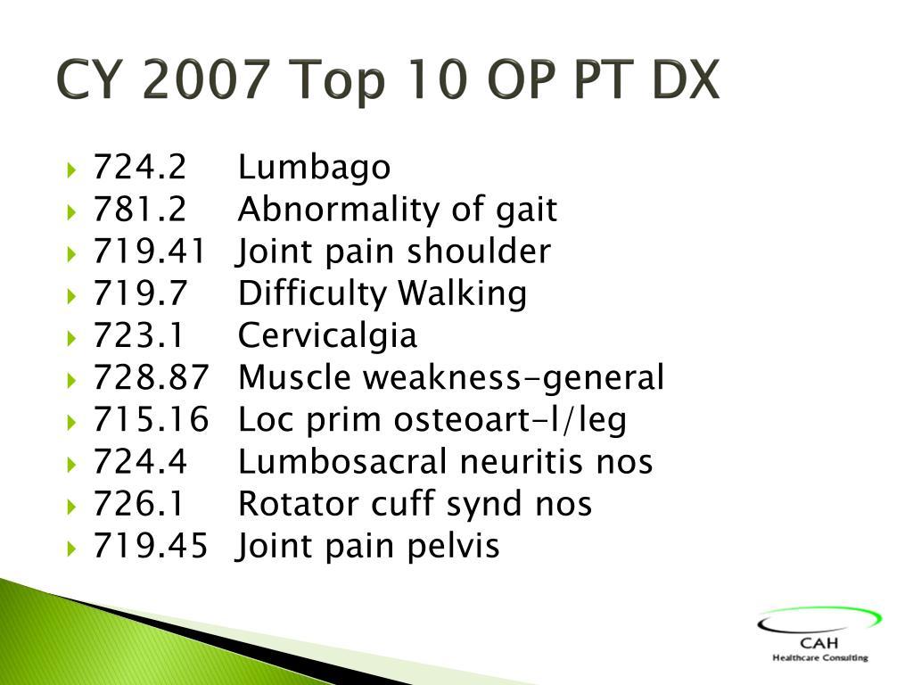 CY 2007 Top 10 OP PT DX
